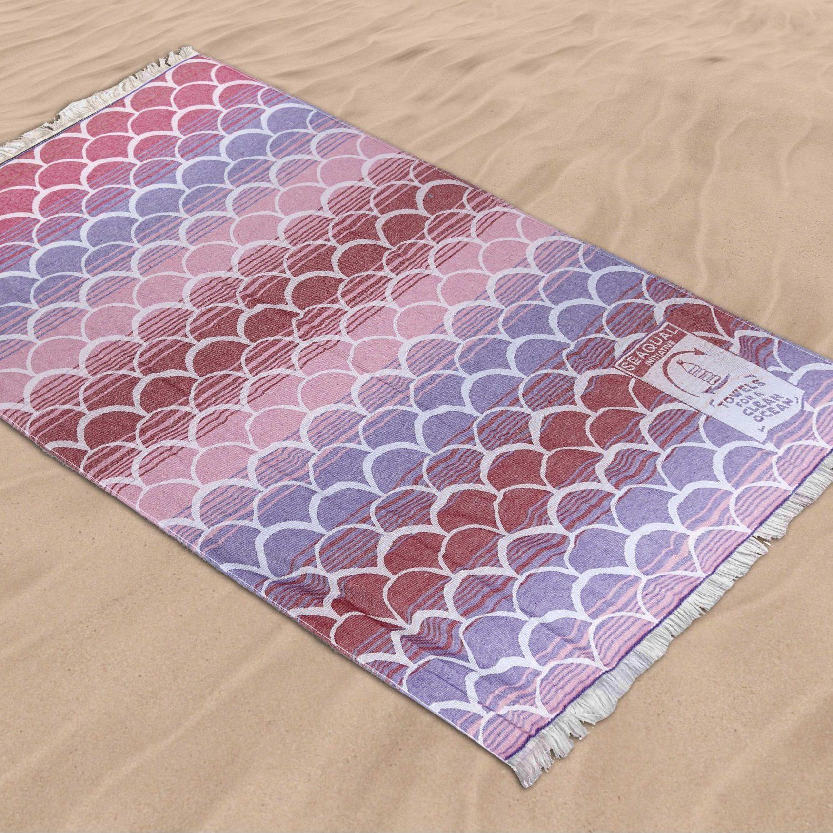 Blanclair ARO3747 - Serviette plage seaqual 100% recyclé - écailles rose