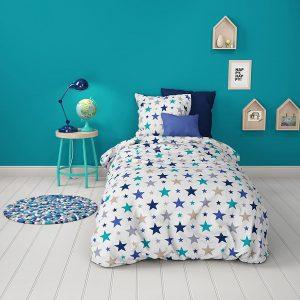 MI01 - Mistral - Parure de lit enfant 2 Pièces - Étoiles bleu turquoise sur fond blanc