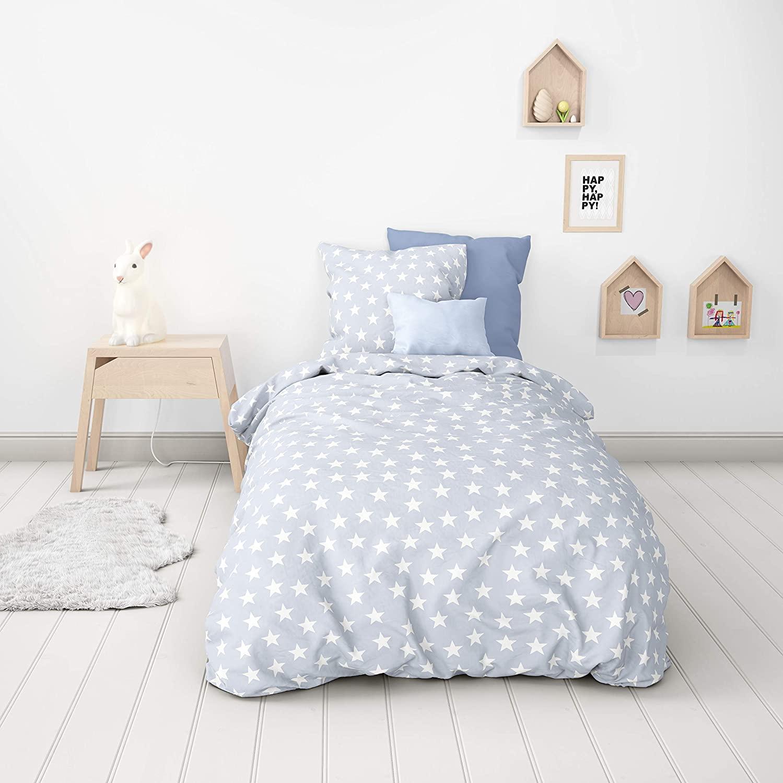 MI04 - Mistral - Parure de lit enfant 2 Pièces - Étoiles blanches sur fond bleu